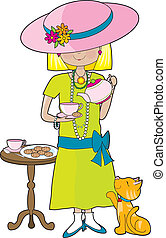 Abbey Dress Up - Little girl dressed in her mother\\\'s...