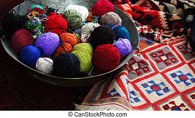Old carpets in the street market in Tbilisi Old town,...
