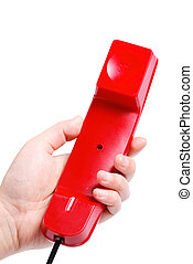 Red old fashioned style telephone handset receiver and arm