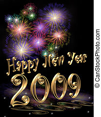 New Year 2009 - 3D Illustration for New Years Eve...