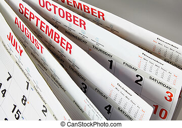 Calendar Pages - Close Up of Calendar Pages