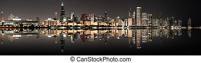 Chicago panoramic skyline at night - Panoramic image of the...