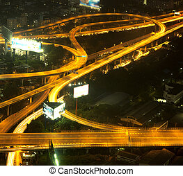 Expressway at night. - A busy freeway at night in the city....