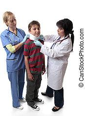 injury medical neck brace - Medical staff place a neck brace...