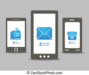 Group of modern mobile phones with speech clouds