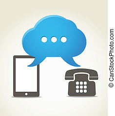Two phones with speech clouds