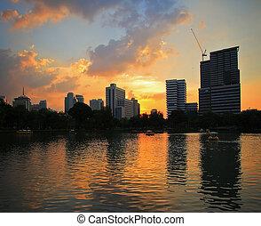 evening sky - Golden light of the evening sky in Bangkok,...