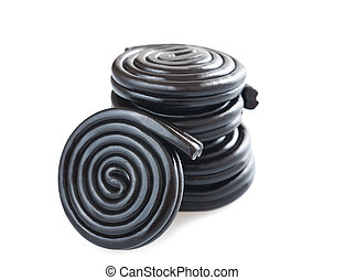 licorice wheels isolated on white
