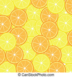 Slices of lemon and orange seamless background, vector...