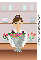 florist - vector illustration depicts woman who create and...