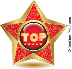 Gold star top icon