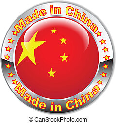 Made in China flag button.Vector