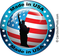 Made in USA flag globe button.Vector