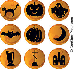 Haloween icons on orange background - set of 9 vector...