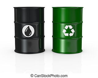 green energy - one black barrel with the oil symbol and one...