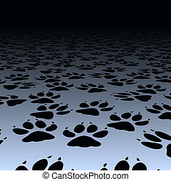 Dog prints - Design of dog paw prints on a floor