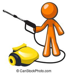 Orange Man Pressure Washer - Orange man with a pressure...