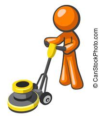 Orange Man Floor Buffer - Orange man buffing tile or carpet...