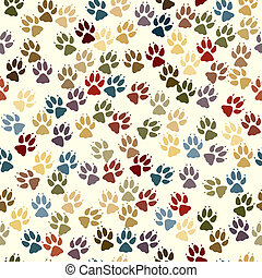 Paw seamless tile - Seamless tile of dog paw prints