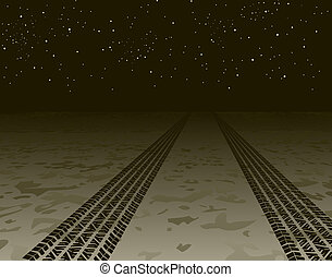 Tire tracks - Illustration of tire tracks disappearing into...