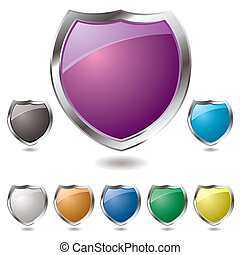 modern shield - Collection of eight different colored shield...