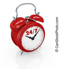 24/7 availability - one vintage alarm clock with text: 24/7,...