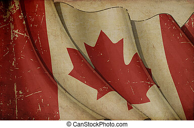 Canada Flag Old Paper