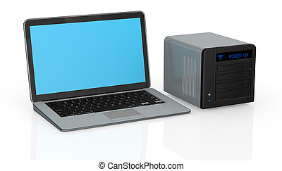 nas and laptop - one computer notebook with a wireless nas...