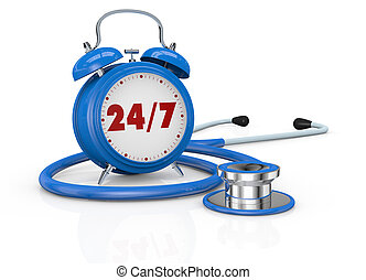 medical assistance - one vintage alarm clock with a...