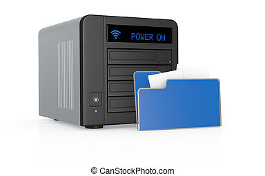 concept of data storage - one nas network attached storage...