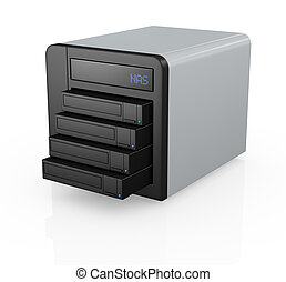nas with four disks - one nas (network attached storage)...