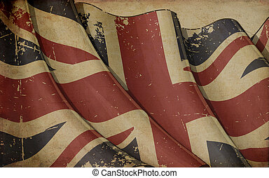 UK Flag Old Paper - Illustration of a rusty UK flag printed...