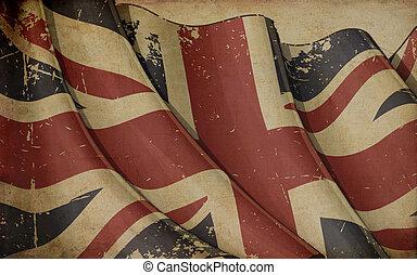 UK Flag Old Paper - Illustration of a rusty UK flag printed...