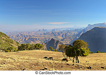 Panorama, Simien Mountains, Ethiopi - Panoramic view from...