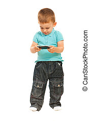 Toddler boy with phone mobile