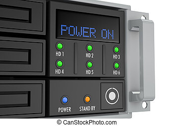 rack server - close up of a server rack panel, powered on 3d...