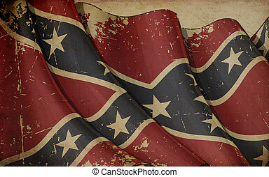 Confederate Rebel Old Paper - Illustration of a rusty...
