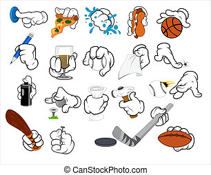 Cartoon Hand Gestures Vector - Creative Conceptual Design...