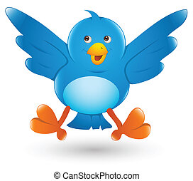 Twitter Bird Cartoon Icon Vector - Creative Conceptual...