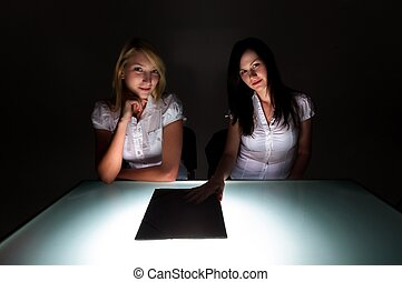 Conceptual photo of crime scene investigation with two girls