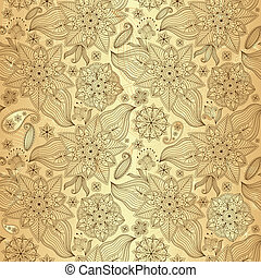 Gold lacy seamless pattern with vintage flowers and paisley...