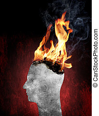 Burnout - Conceptual image of a head burning in flames.