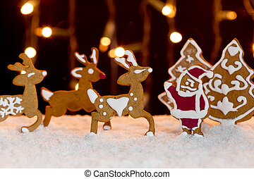 Christmas setting - gingerbread deers and santa - Christmas...