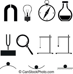 physics icons - set of vector physics icons