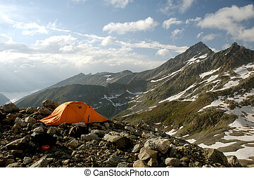 Well-camped - High-altitude camp at the edge of moraine with...