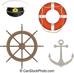 range of marine accessories - vector set of marine...