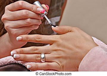 Nail polish in a beauty salon