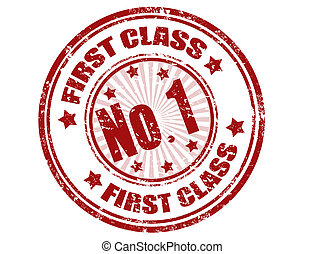 First class stamp - first class grunge ruber stamp,vector...