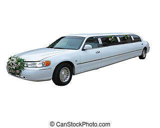 White wedding limousine for celebrities and special events...