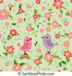 Texture seamless bird and flowers